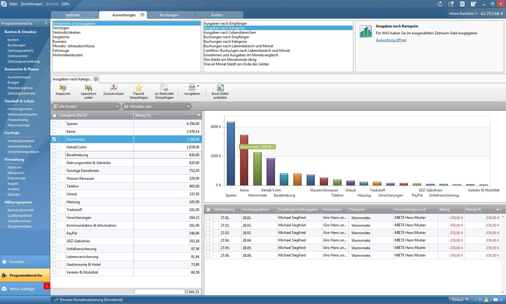 Mit der Finanzanalyse können Sie sich Auswertungen in grafischer und/oder tabellarischer Form anzeigen lassen. Das Programm bietet Ihnen eine Reihe vordefinierter Berichte. Jeder Bericht kann individuell angepasst und verändert werden.