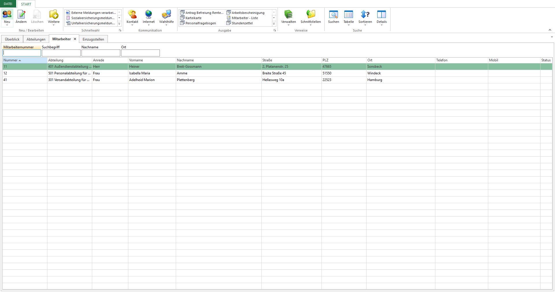 Stammdatenverwaltung: Hier können Sie bis zu 15 Mitarbeiter erfassen und diese den jeweiligen Abteilungen zuordnen.
