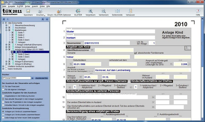 Sie können jederzeit die Vordruck-Ansicht aufrufen und hier Ihre Angaben kontrollieren und sogar ändern oder vervollständigen.