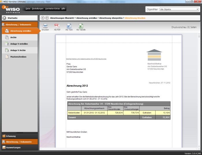 Per Knopfdruck erhalten Sie nach automatischer Prüfung Ihrer Daten die Abrechnungsdokumente.