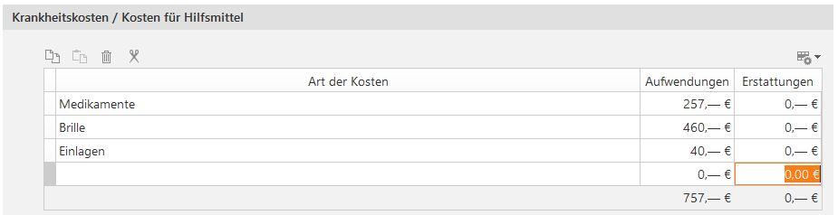 "Tabelle ""Krankheitskosten"""