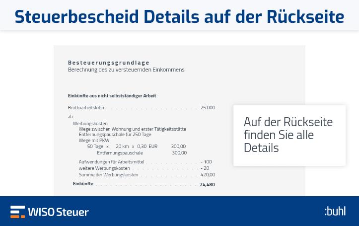 Steuerbescheid lesen: Details Rückseite