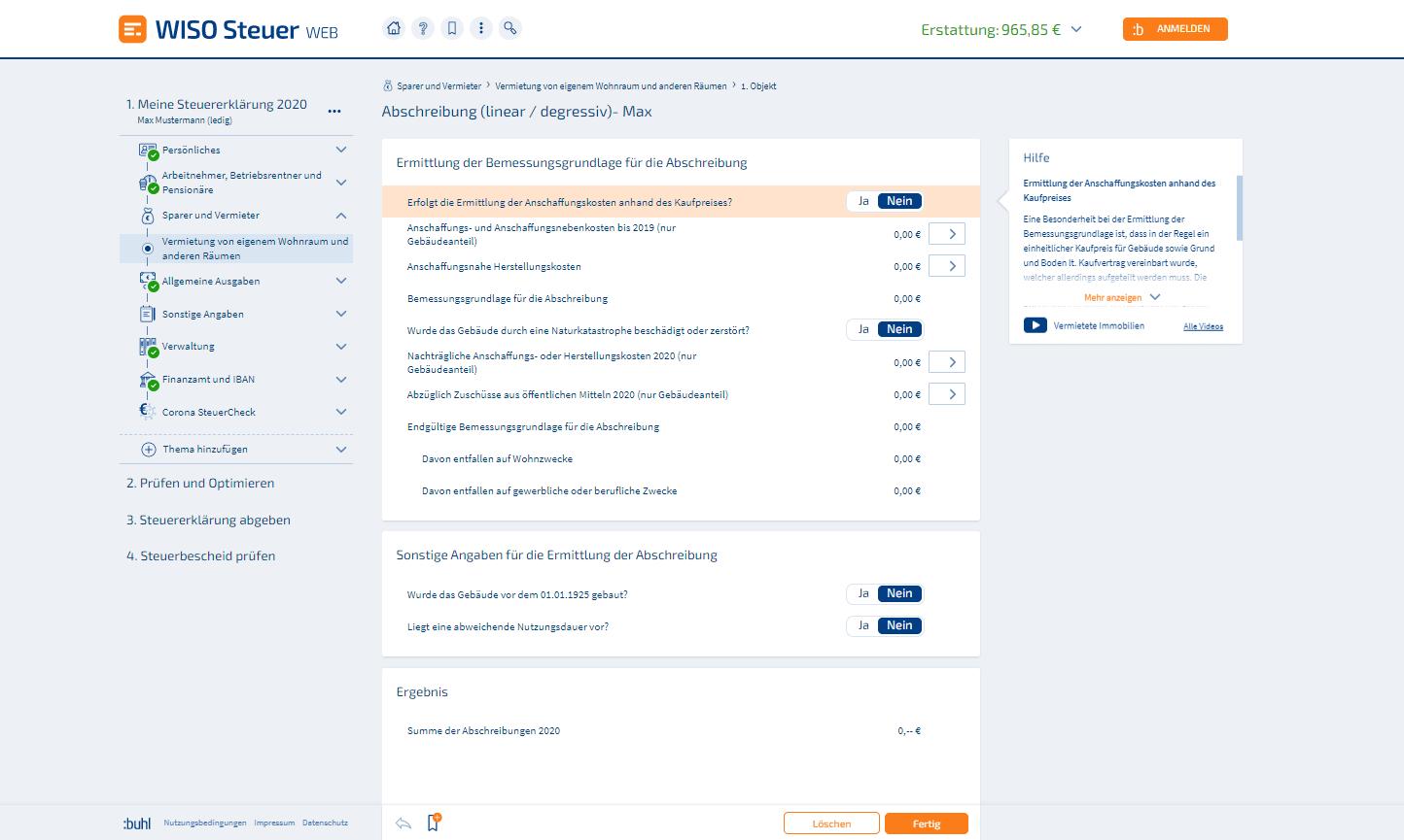 Immobilien-Abschreibung WISO Steuer Screenshot
