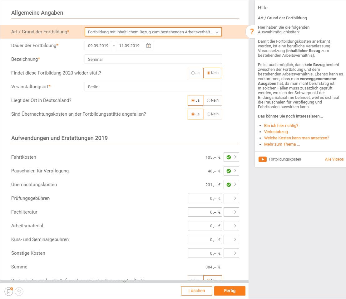 Fortbildungskosten absetzen steuer:Web Beispiel