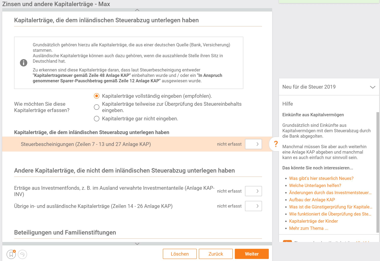 Kapitalerträge steuer:Web Screenshot