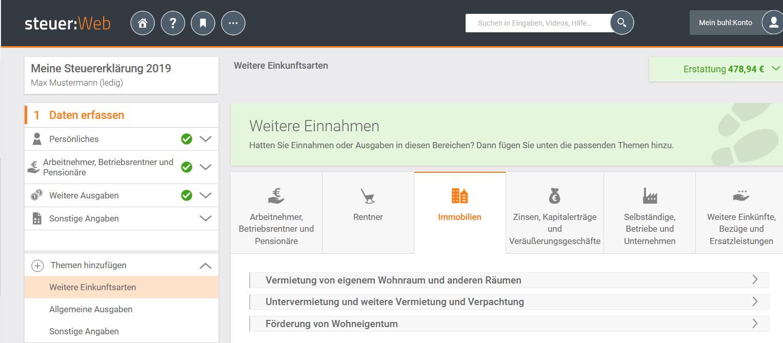 Anlage V WISO Steuer Screenshot