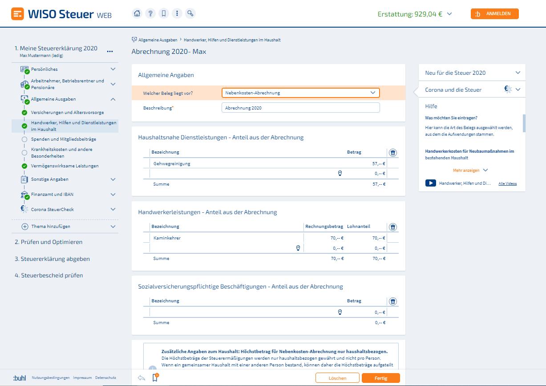 Haushaltsnahe Dienstleistungen WISO Steuer Screenshot