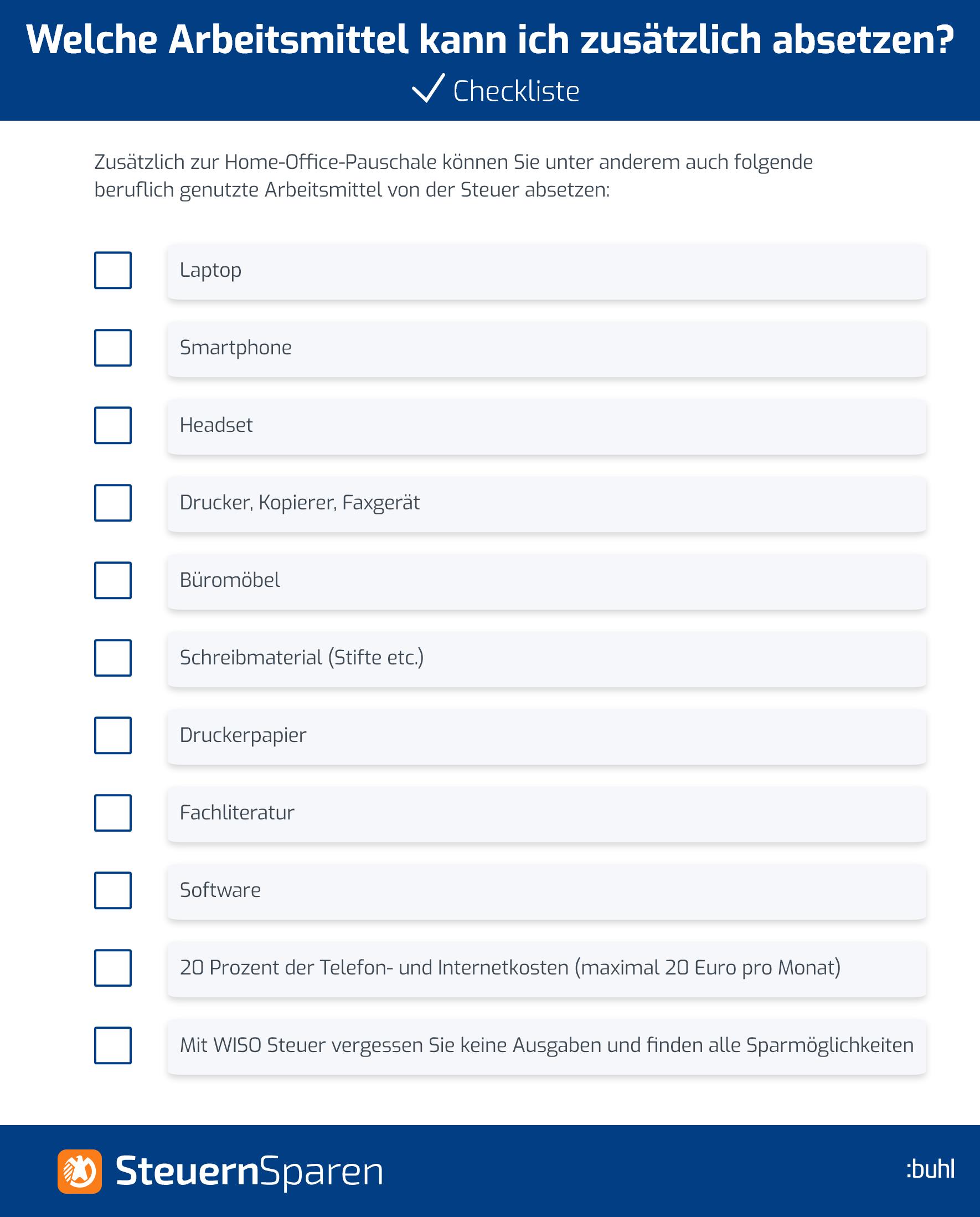 Arbeitsmittel Checkliste