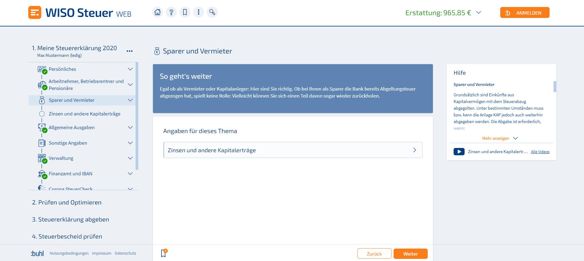 Bausparvertrag Steuererklärung WISO Steuer Screenshot