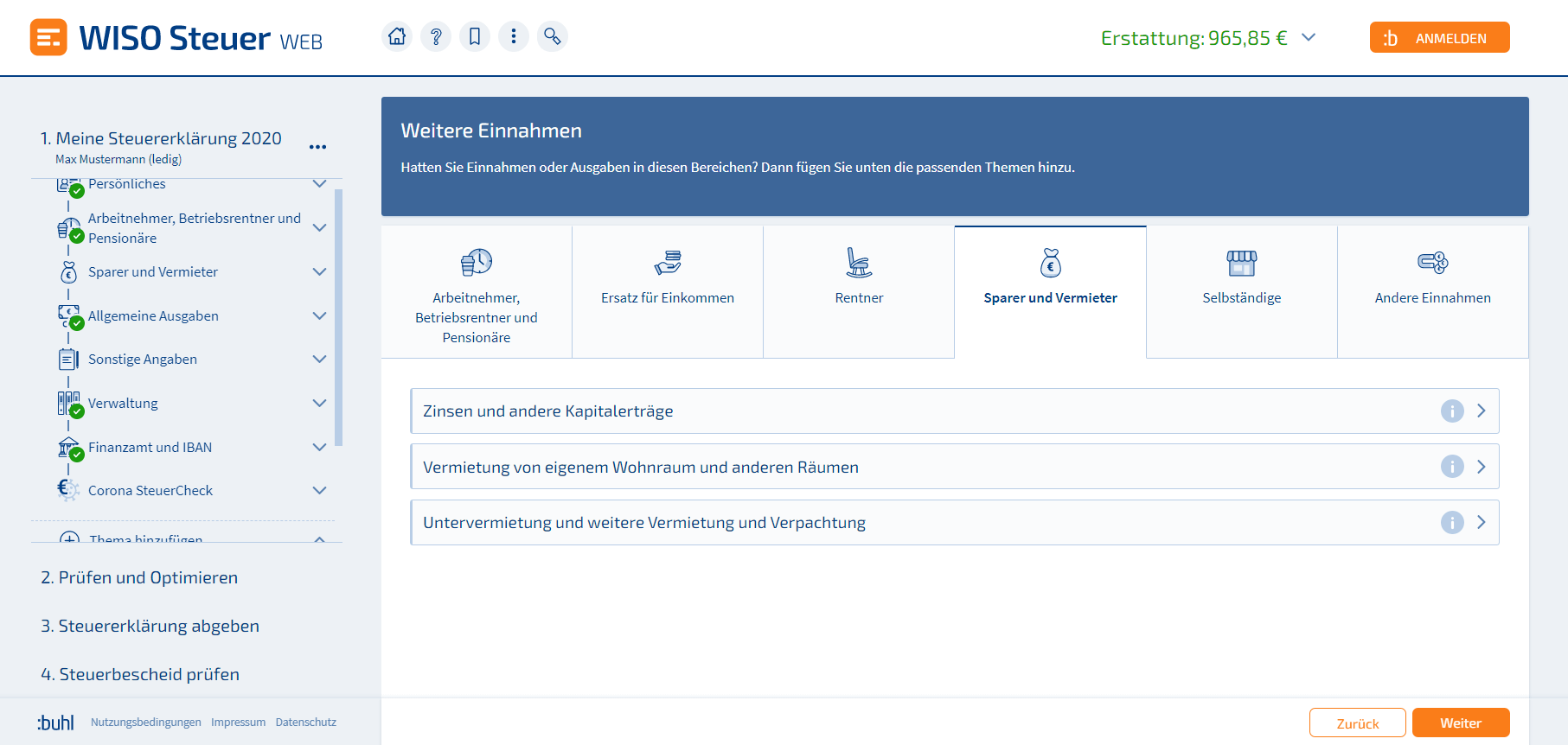 Schuldzinsen WISO Steuer Screenshot