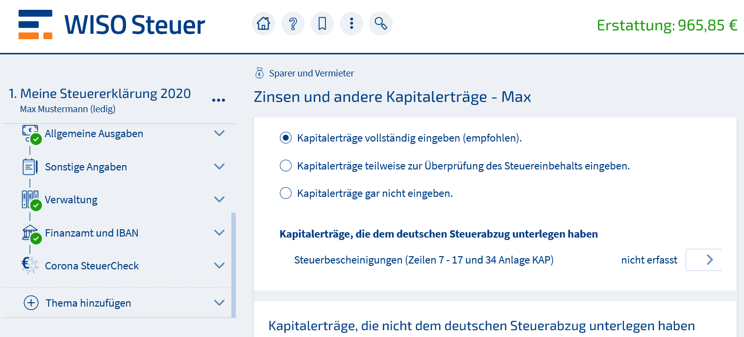 Reisekosten-Abrechnung WISO Steuer Beispiel