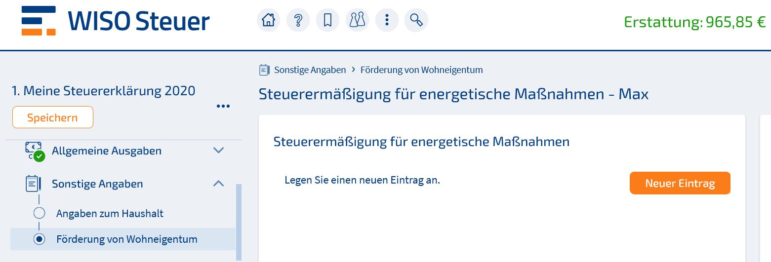 Energetische Sanierung WISO Steuer Screenshot