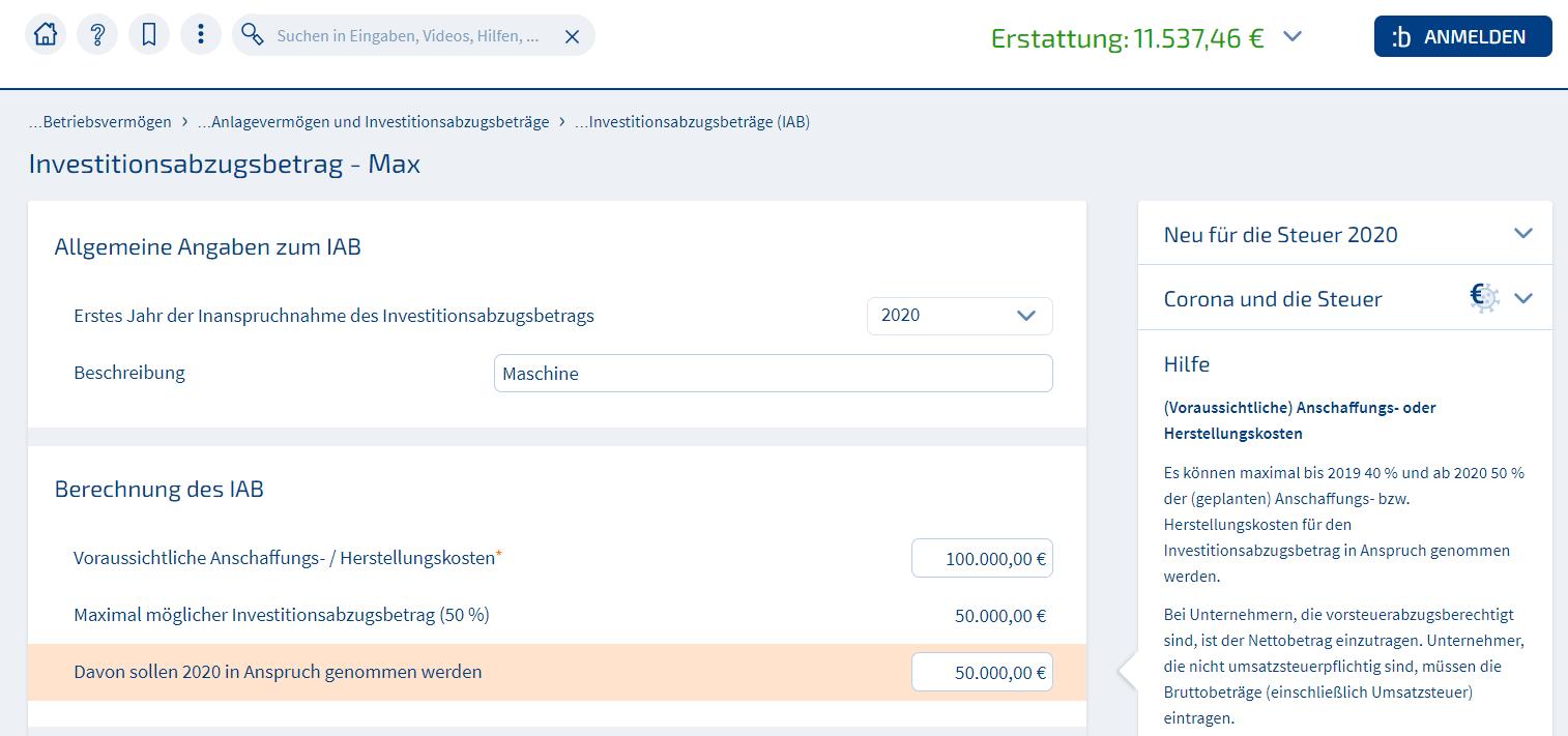 Screenshot WISO Steuer Investitionsabzugsbetrag