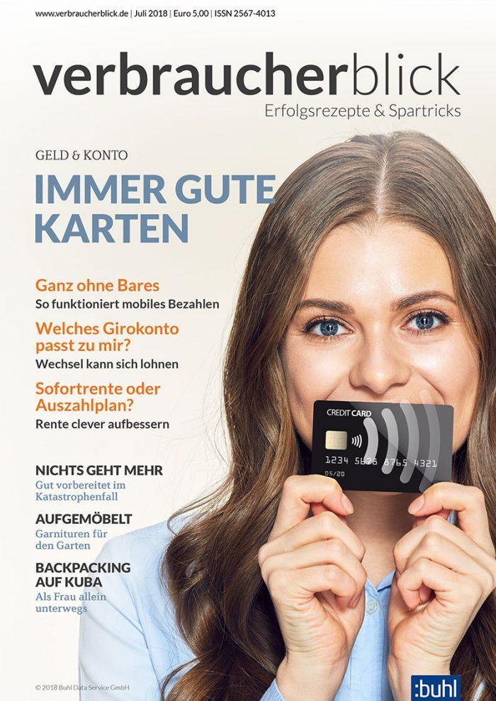 Cover verbraucherblick 07/2018 - Immer gute Karten
