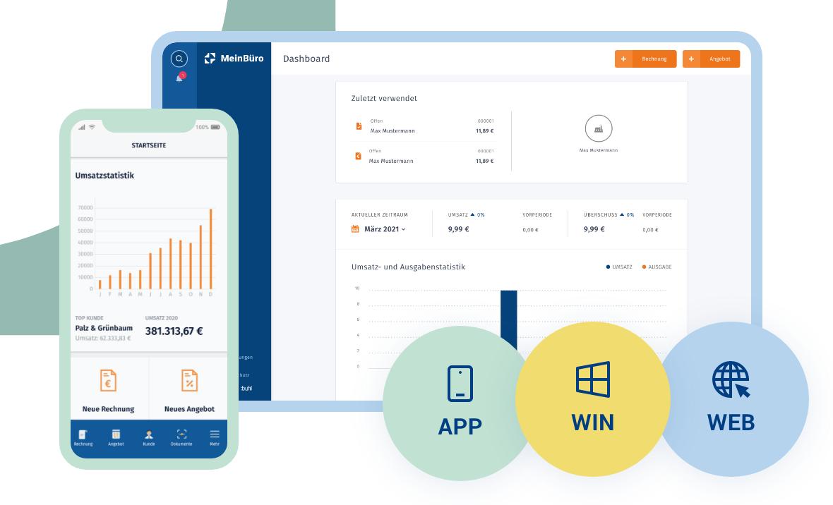 Rechnungsprogramm - Windows Web MacOS mobile App